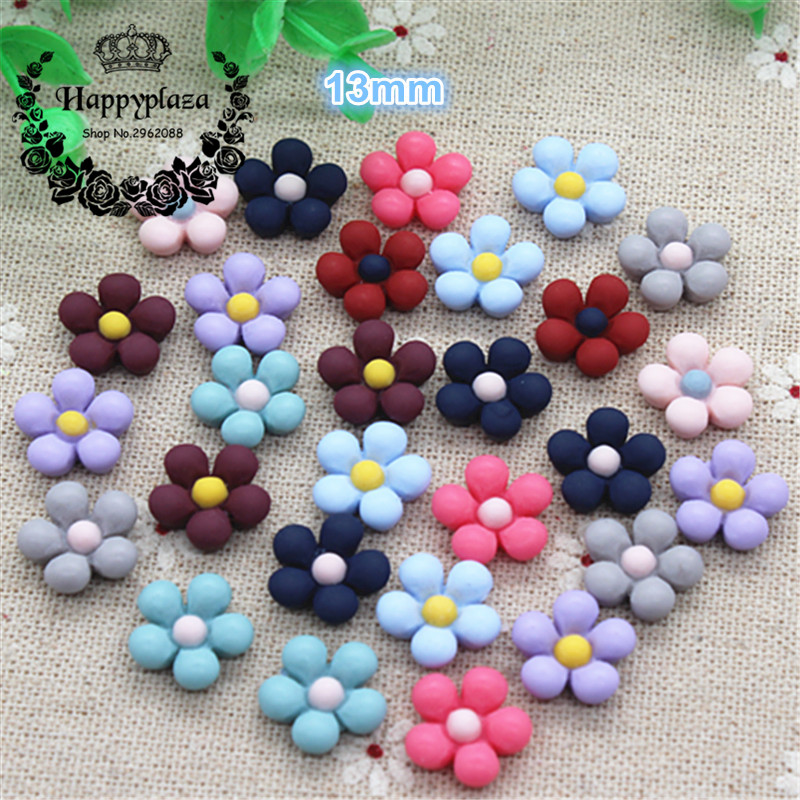 50PCS Mix Colors Cute Resin Five-petal Flowers Flatback Cabochon DIY Hair Bow Center Scrapbooking,13mm