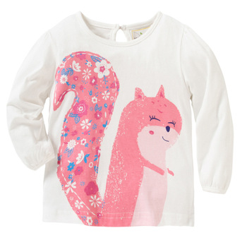 [SAIID KOBEISY] 2017 Autumn Baby Girls T-Shirt Cute Squirrel Pattern Kids Long Sleeve Tops Clothing Children Sweatshirt Clothes