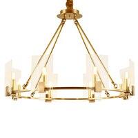 Пост современный фойе свет роскошные подвесные светильники площади прозрачное стекло тень спальня hotel зал decotation 8 лампы медь droplight