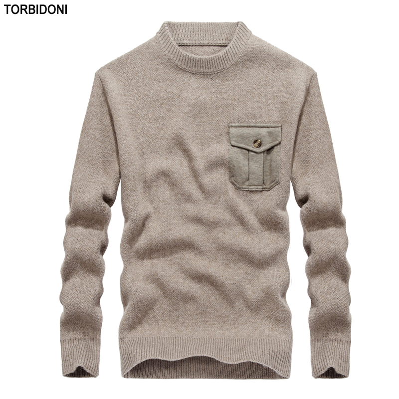 Mens Fashion Autumn Sweatercoat Long-Sleeve Pullover Sweaters Jacket New Casual Sweater Round Collar Pocket Design Male Sweater