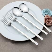 4pcs 8.5'' Korean Cutlery Stainless steel Dinner Spoon Fork Long handled Tableware Travel Portable Silver Dinnerware Flatware
