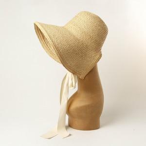 Image 2 - Шляпа от солнца USPOP женская с широкими полями, соломенная Складная Панама ручной работы, из рафии, в винтажном стиле, лето