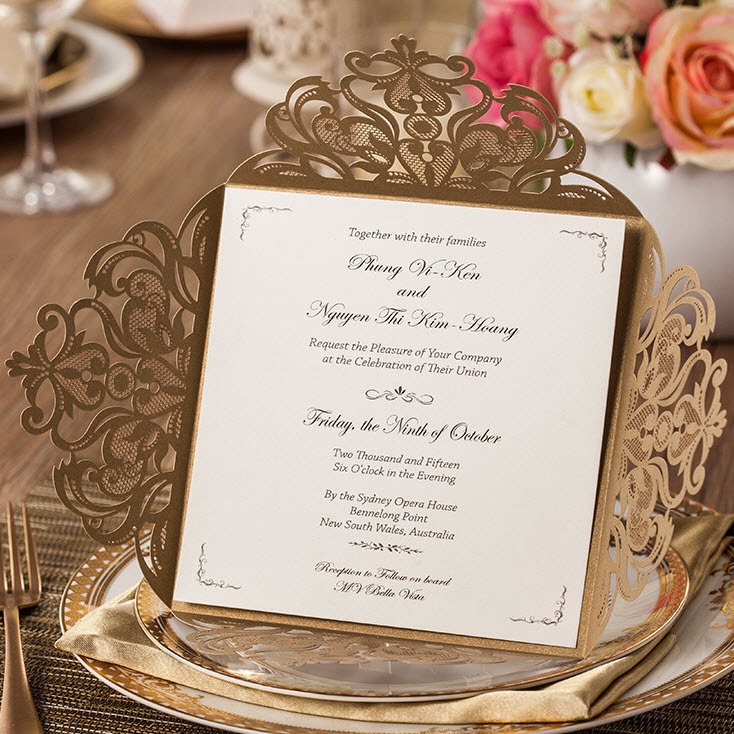 50 Pieces, Elegant Golden Laser Cut Flowers Pattern Wedding ...