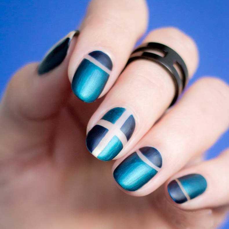 Elegant French Nail Art Design Dark Blue Strips Style for