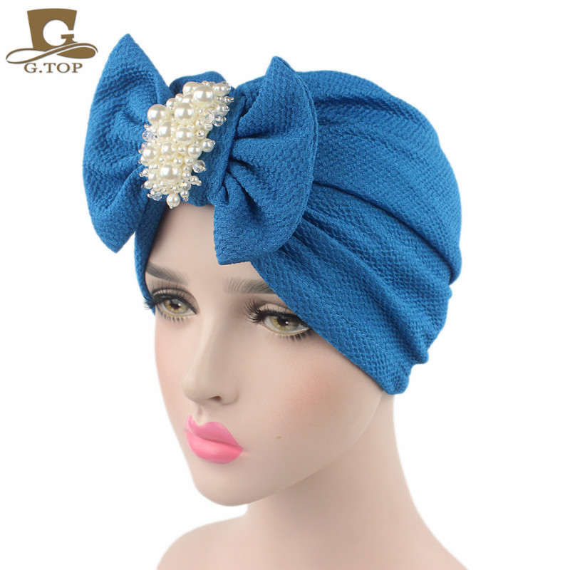 2016 new fashion women luxury bow Turban with the pearl jewelry cotton Hat Stylish Chemo cap detachable bowknot Indian cap