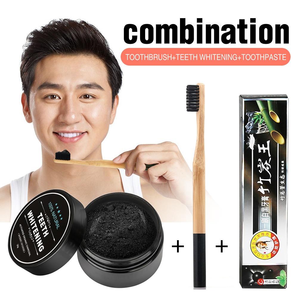 Dientes blanqueamiento dientes de carbón de bambú fórmula fuerte polvo de dientes blanqueamiento dientes higiene bucal limpieza