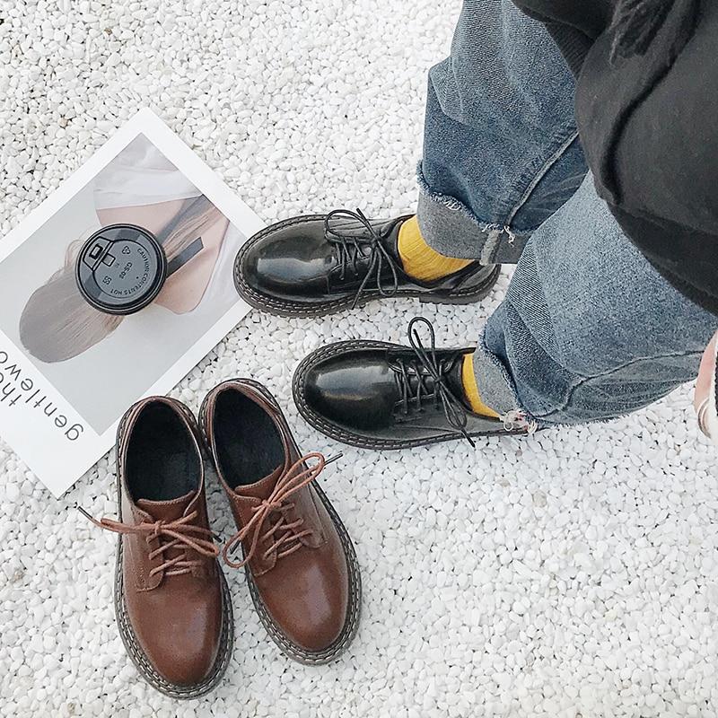 Mode Petit chocolat Sauvage Étudiant Nouvelle Rétro coréen Confortable forme Chaussures Noir Punk Chaussures Plate Plates De Britannique wBaxEqzCpx