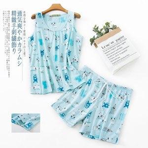 Image 4 - プラスサイズのかわいいクマのパジャマセット韓国綿60% ノースリーブ甘い漫画夏のショートパジャマ女性パジャマ