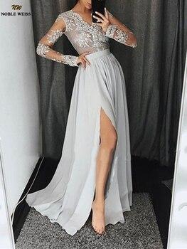 New Long Chiffon Prom Dress Long Sleeve Vestido De Fiesta Sexy V-Neck Plus Size  A-Line Ladies Special Occasion Dresses
