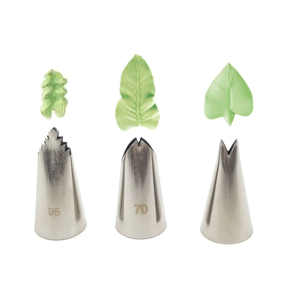 3 Pcs/set Leaves Cream Metal Tips Stainless Steel Icing Piping Nozzles Cake Cream Decorating Cupcake Pastry Tools  #70#352#95