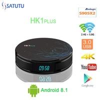 HK1 PLUS Smart TV BOX Android 8.1 Set Top Box 4K Mi ni Tv Box 4gb 32gb 64gb Quad Core media player Support IPTV PK X96 MINI H96