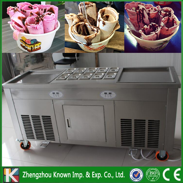 Two 45*45 cm square ice pans of frying ice pan machine / fried ice cream with side panels and the front splash shield