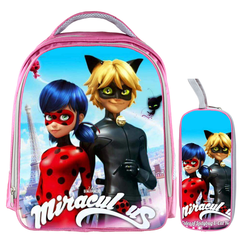 13 Inch Miraculous Ladybug Marinette Cat Noir Backpack Kids School Bags for Boys Baby Kindergarten Child Bags Pencil Bag Sets kids miraculous ladybug cat noir cosplay miccostumes costume with mask ladybug black romper bodysuit halloween tight jumpsuit