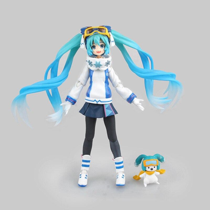 14cm Hatsune Miku Figma EX030 Snow Owl Ver. Cartoon Animation Action Figure PVC Model Toy Doll Girl Gift Decoration hatsune miku winter plush doll