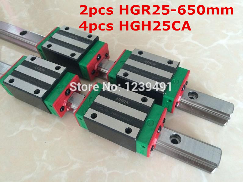 2pcs HIWIN linear guide HGR25 - 650mm  with 4pcs linear carriage HGH25CA CNC parts