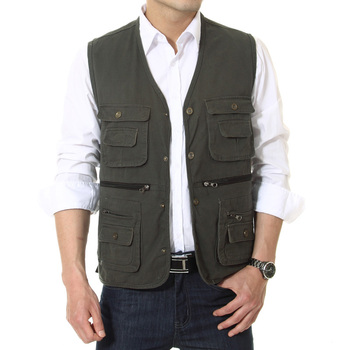 Man Leisure Vest Multi Function Pockets Design Waistcoat Male Casual Daily Cotton Herringbone Gilets Men V-neck Vests Army Green army green side pockets v neck short sleeves camouflage dress