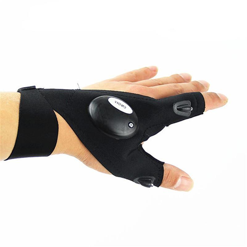 Multifunctional EDC Fishing Fingerless Glove LED Repair Flashlight Survival