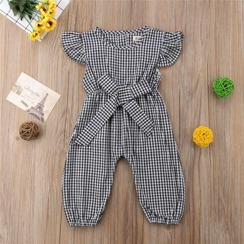 56351098632d Summer Round Neck Jumpsuit Girls Clothing Romper Plaid Black Red Cute  Clothes Toddler Kids Infant Baby