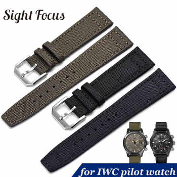 20mm 21mm 22mm Nylon Canvas Fabric Watch Band for IWC Pilot Spitfire Timezone Top Gun Strap Green Black Belts Wristwatch Straps - DISCOUNT ITEM  51 OFF Watches