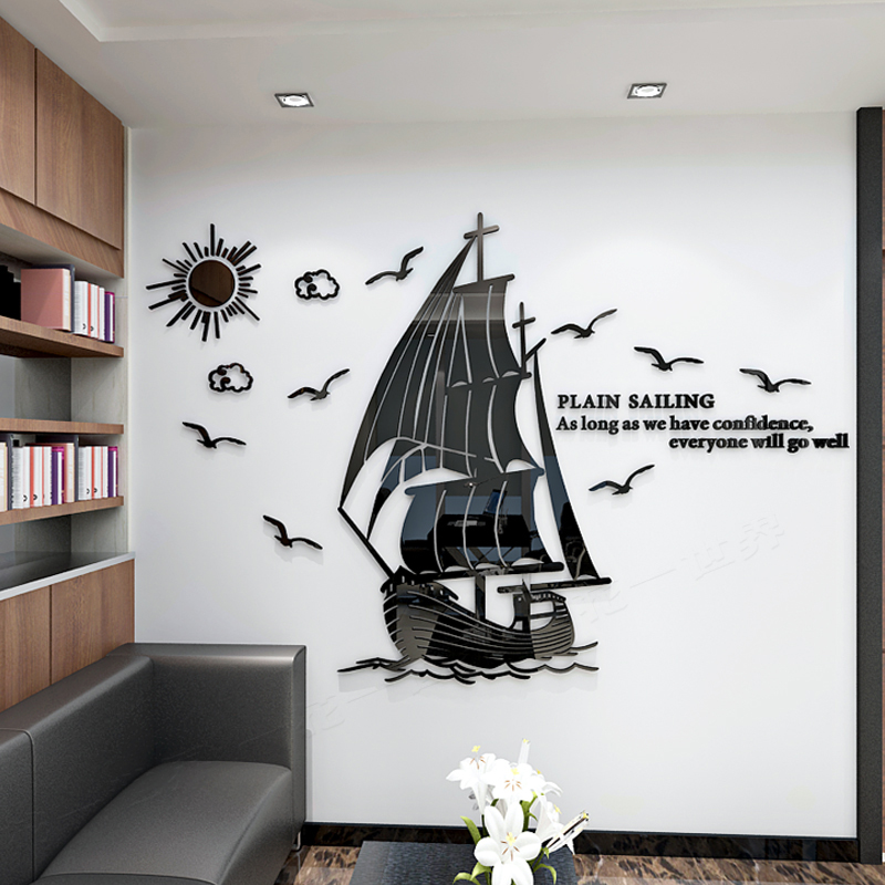 Sailboat Acrylic 3d Mirror Wall Stickers Living Room Company Office Sofa Wall Art Decor Gold