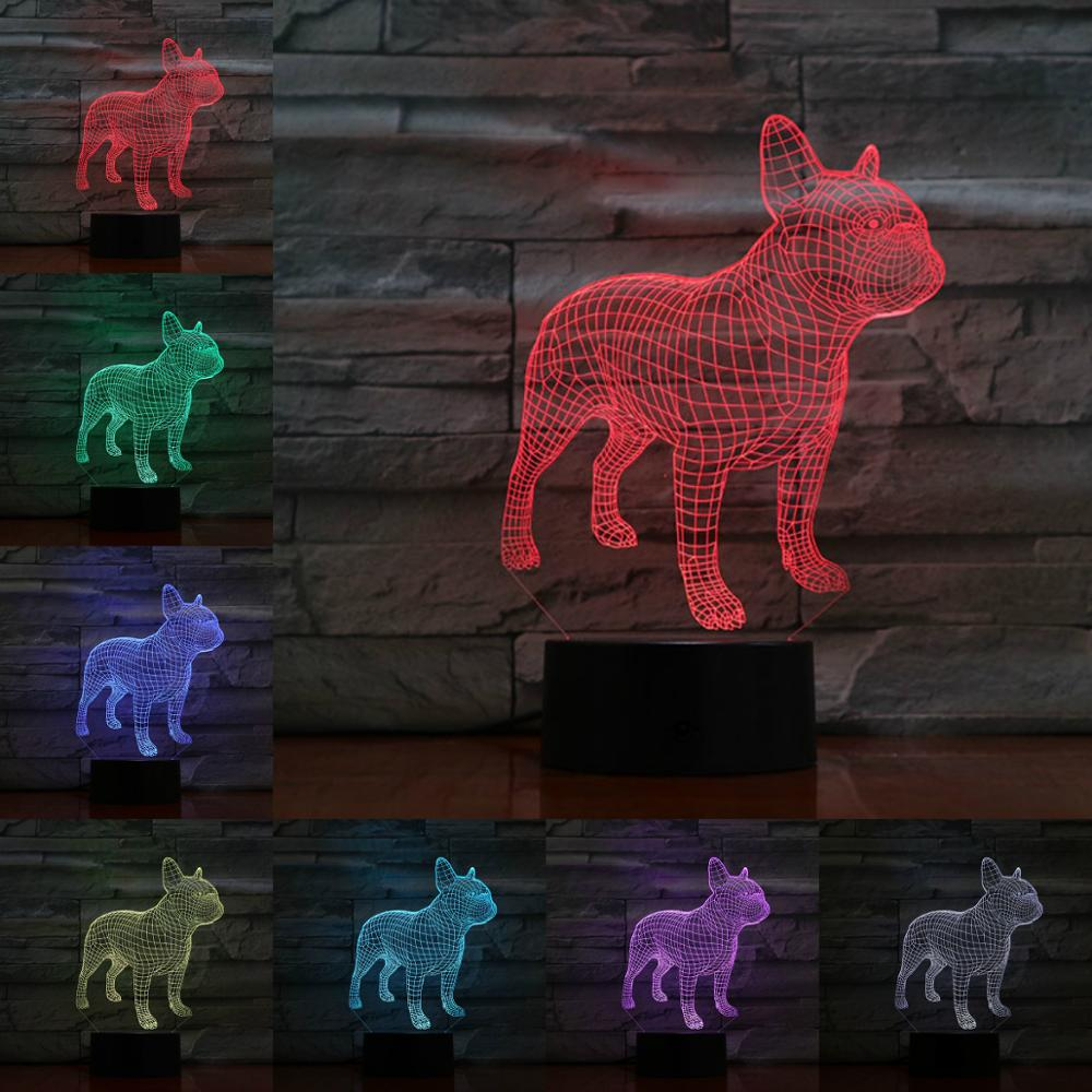 French Bulldog 3D Lamp Illusion Night Light LED Bulb Multicolor Flash Fade LAVA Lampara Battery Touch Remote Senor Table Desk