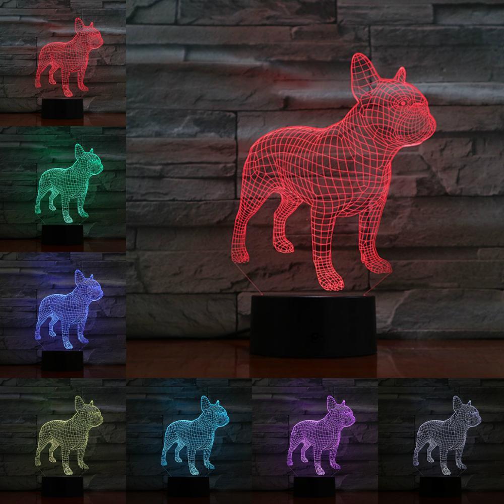 French Bulldog 3D Lamp Illusion Night Light LED Bulb Multicolor Flash Fade LAVA Lampara Battery Touch Remote Senor Table Desk