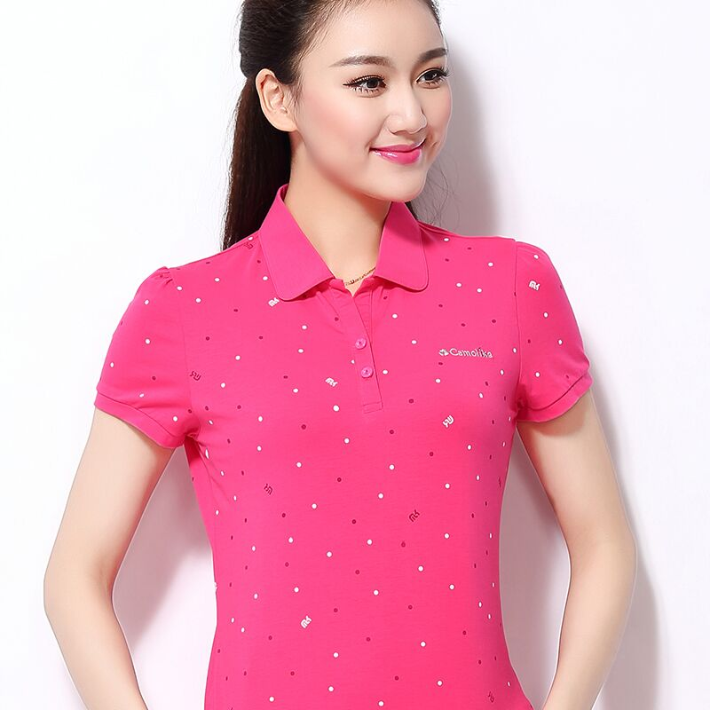 M-4XL Female Short-Sleeved Polo Shirt Large Size Women's Shirt 2019 New Summer Polo Shirt Fashion Cotton Clothes Top CH915