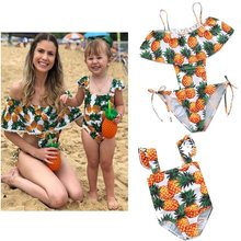pine apple swimwear mother daughter bikini mommy and me clothes family matching outfits look mom baby dresses swimsuit clothing(China)