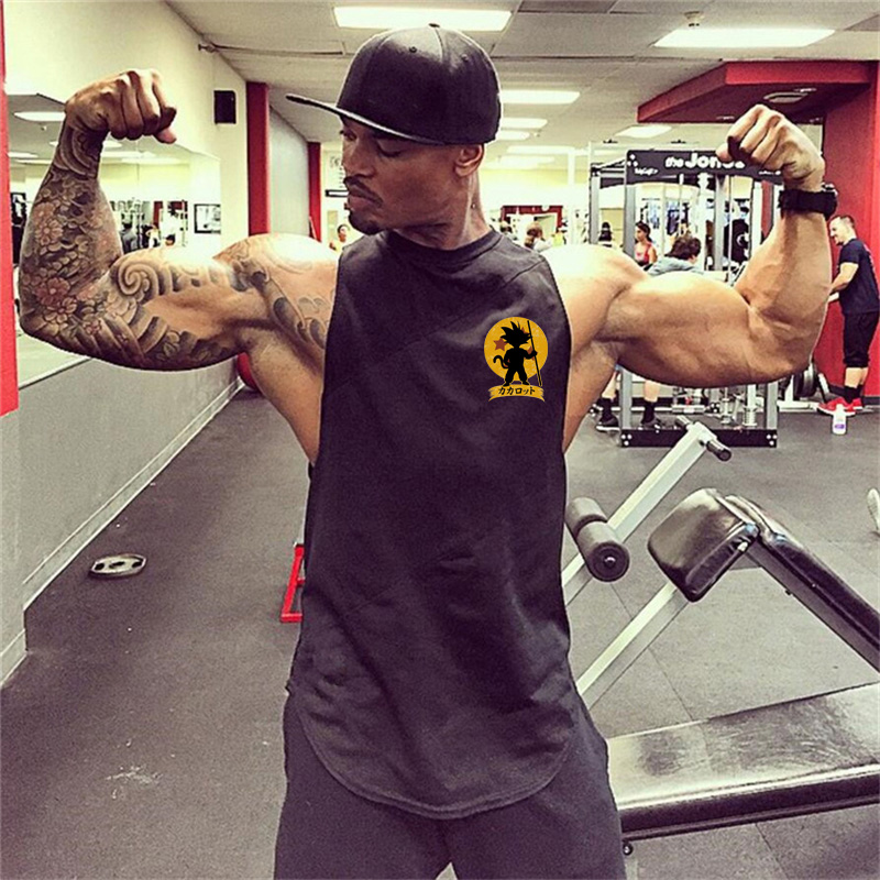 2018 Summer Dragon Ball   Tank     Top   Men Gyms Sleeveless Shirt Cotton Patchwork Mesh Male Fitness Clothing Bodybuilding Workout Vest
