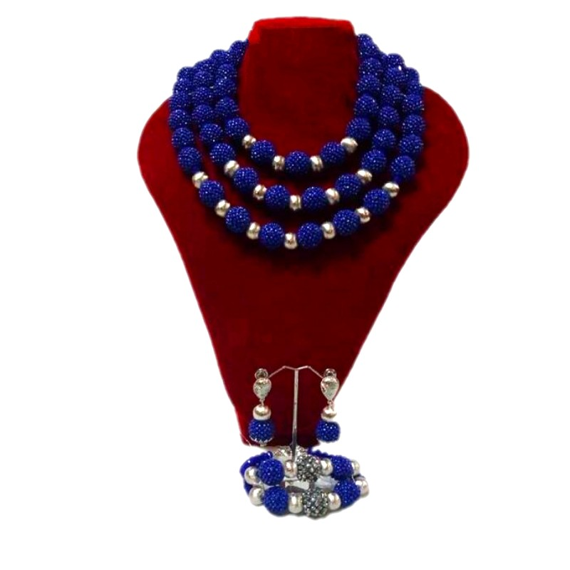 Fine-Jewelry-Sets Beads African Handmade Royal-Blue Wedding-Sets Silver Bridal Fashion