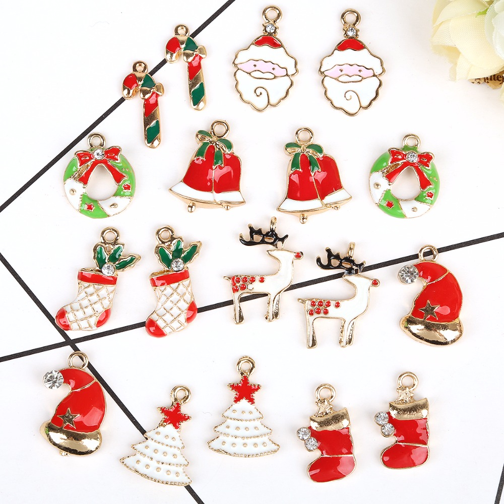 Hot- 20pcs Alloy DIY Christmas Tree Decorations Charms Jewelry Pendants Ornaments Christmas Decorations For Home Noel Cristmas