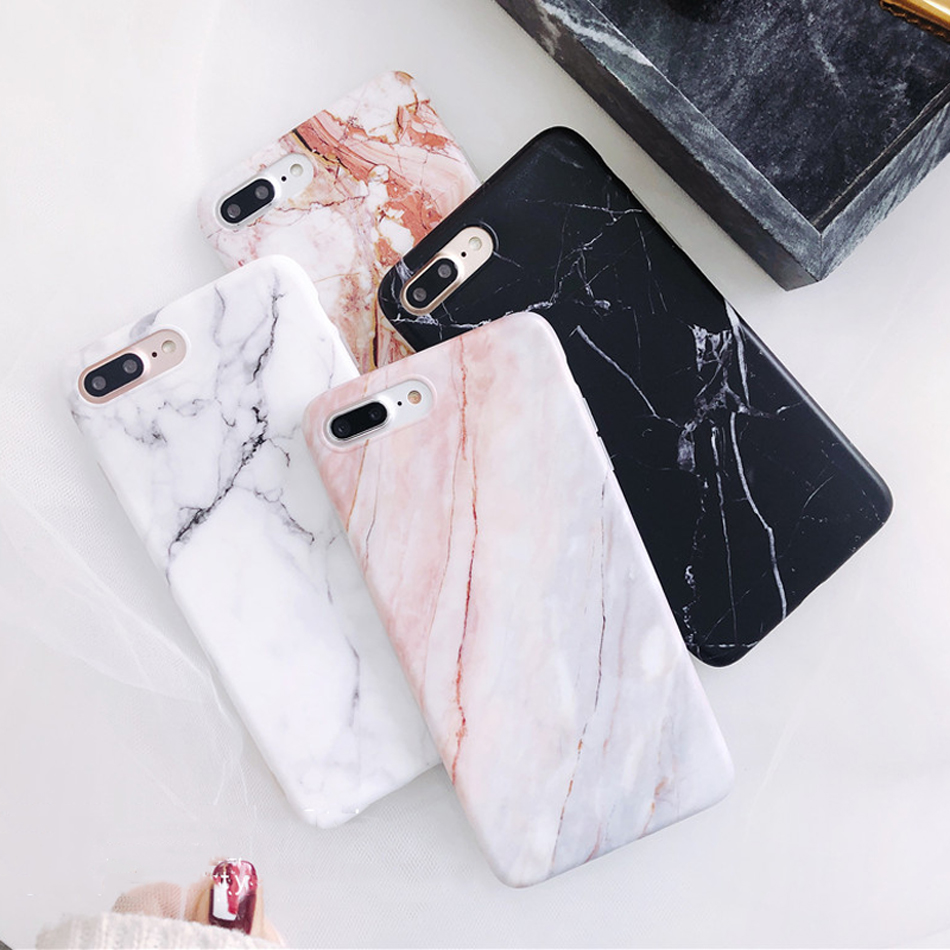 Moskado Shell Phone Case With Glossy Granite Marble Stone Cover For iPhone 11 Pro X XS Max XR 7