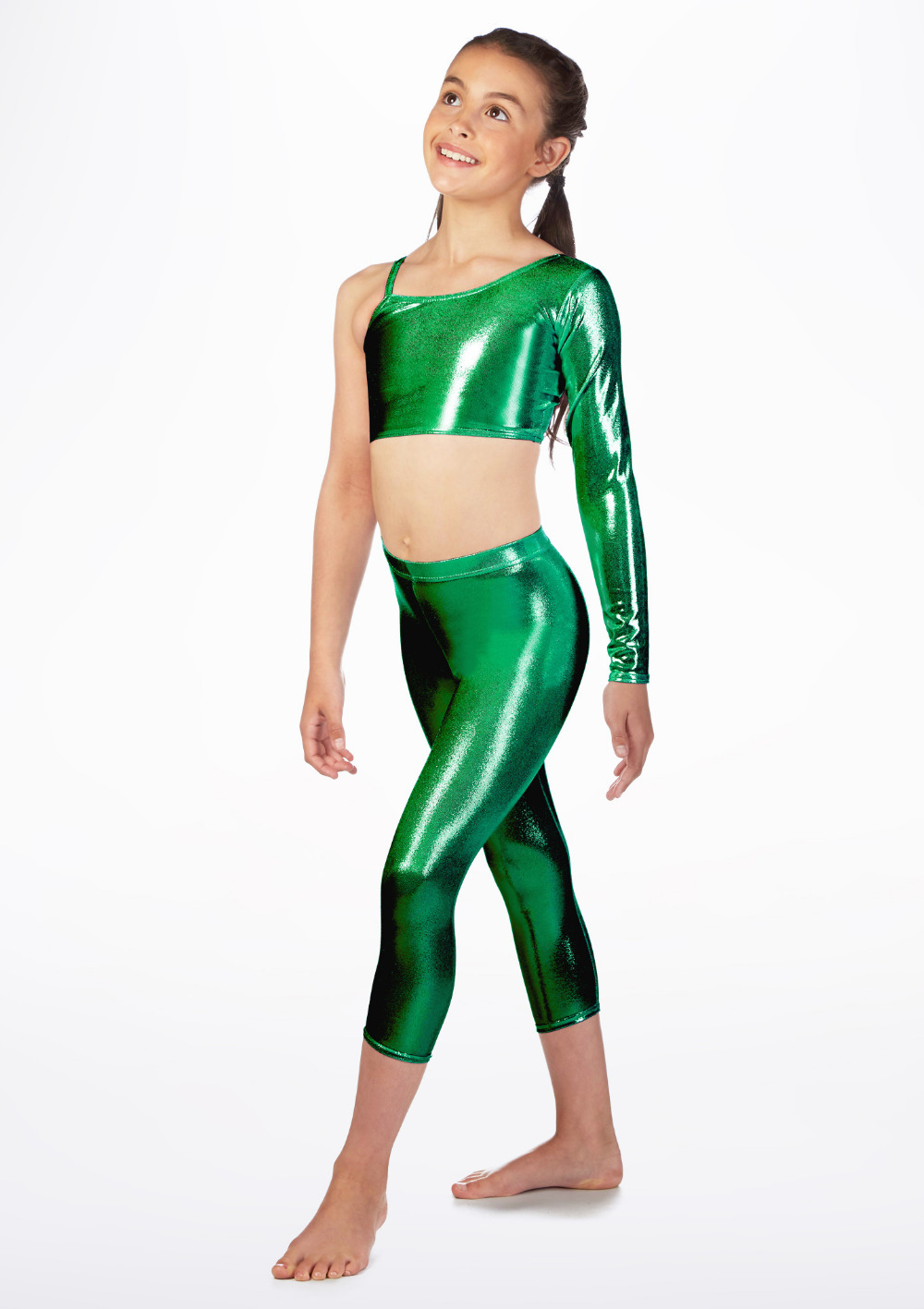 2cf9a750051 ... Girls Dance Capri Leggings Basic Metallic Ballet Jazz Shiny Pants Stage  Performance (7) ...