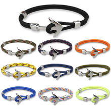 HOMOD Hot Sale Couple Bracelets Fashion Alloy Anchor Bangles Braided Polyester Rope For Women Men Gifts