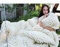 Chunky knit blanket, Super chunky yarn, Wool blanket, Knitted blanket,, Blanket 100*120CM  Bulky blanket