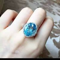 Natural blue topaz stone Natural gemstone ring S925 sterling silver trendy Elegant big round women party gift fine Jewelry