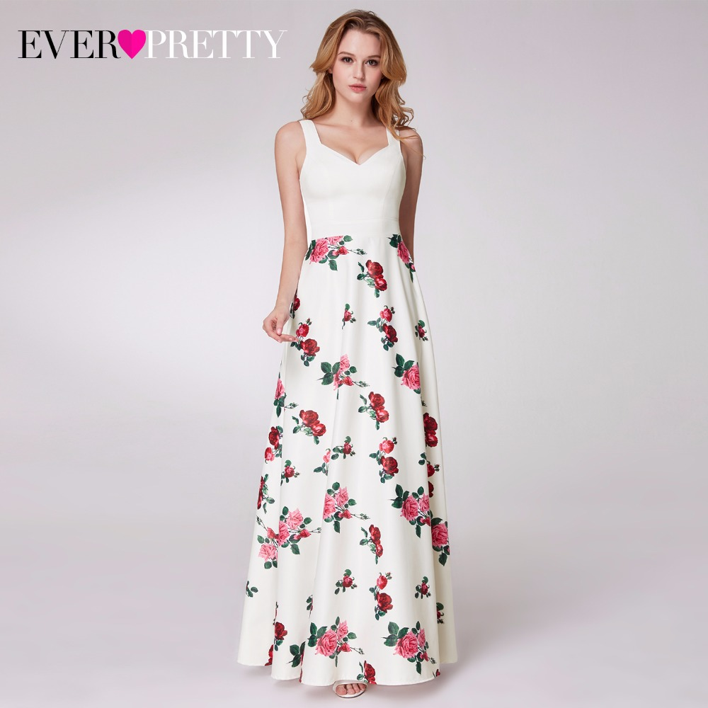 2019 Floral Print Long   Prom     Dresses   Ever Pretty EP07218 Women's Sleeveless A-line Sweetheart Satin Party   Dresses   with Pocket