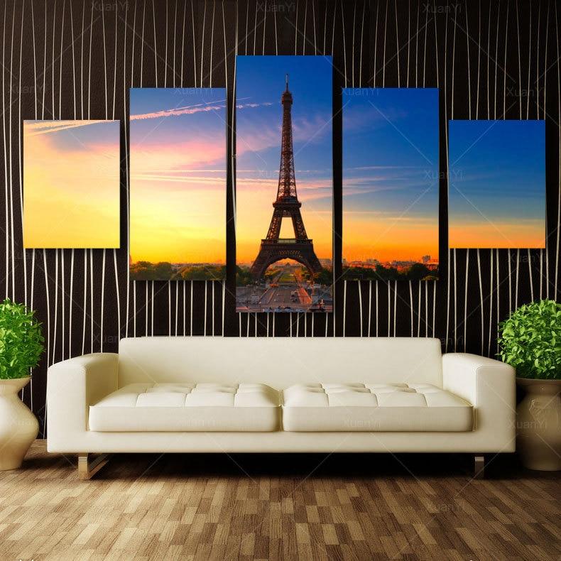 ୧ʕ ʔ୨5 panel moderno impreso París Torre Eiffel paisaje pintura al ...
