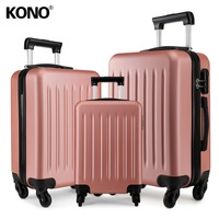 KONO Suitcase Rolling Hand Luggage 4 Wheels Spinner Trolley Case Carry on Travel Bag Hardside ABS 19 24 28 Inch Set Nude K1872