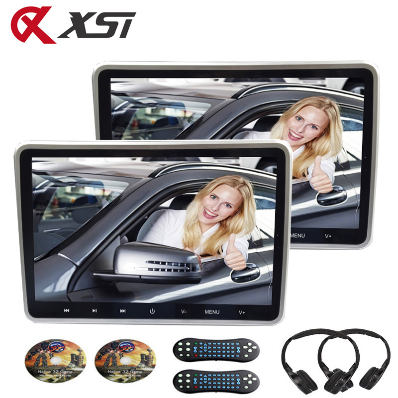 XST 2pcs 10.1 inci 1024 * 600 Headrest Monitor Kereta Pemain DVD USB / SD / HDMI / IR / FM TFT LCD Touch Button 32 Bit Game Remote Control