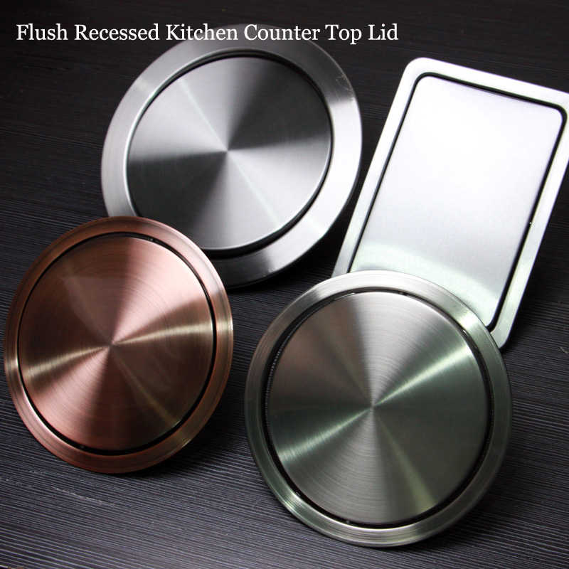 Stainless-Steel Trash Can Recessed Built-in Flap Lid cover Kitchen Counter Top Q