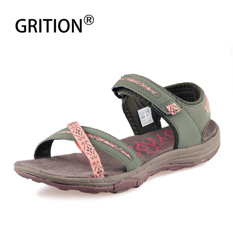 GRITION sandalias de mujer playa señoras zapatos de cuero de verano femenino al aire libre senderismo zapatillas de tacón plano moda cómodo calzado