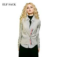 Elf SACK w цветной глазурью плитка осенью и зимой опрятный стиль тонкий полоса свитер женский кардиган