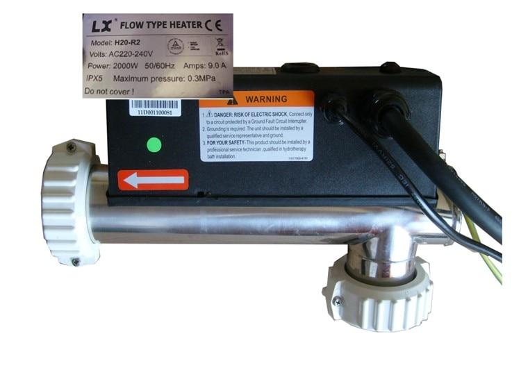 LX bathtub Heater - H20-R2 2kw/220V- Water Heater 2000 Watt lx flow type heater element 3kw for h r series kinesisk lx merkevare varmeelement