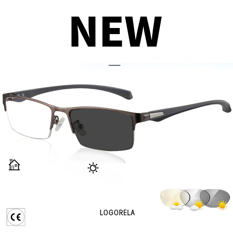 New Sun Photochromic Myopia Eyeglasses Optical Men Student Finished Myopia Eyewear Prescription Glasses Frame Half Rim -1.0 -4.0