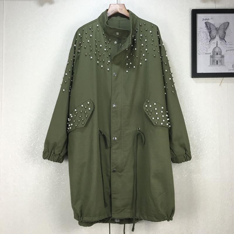 Poches Manteau Taille Large Automne Casual Collar Perles Nouvelle À Black De Kb140 Poitrine Mode army Hiver Mandarin Green Unique qlzw 2018 Femmes T5qvn7wx5O