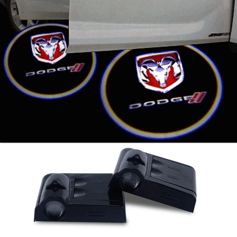 2x Car Door Ghost Shadow Light Logo Projector For <font><b>Dodge</b></font> Caravan Ram1500 <font><b>Durango</b></font> Neon Journey Caliber Charger Challenger Emblem