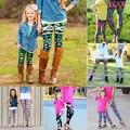 Hija de la madre de Las Mujeres Ropa de Moda Niño Niños Chicas Calientes Leggings Jeggings Elásticos Lápiz Pantalones A Juego de la Familia de Vestuario