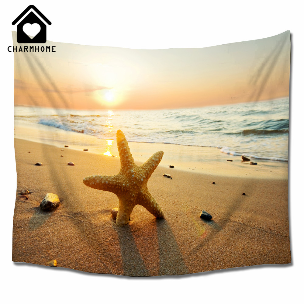 CHARMHOME Starfish and Sunset Summer Beach Theme Tapestry Wall ...