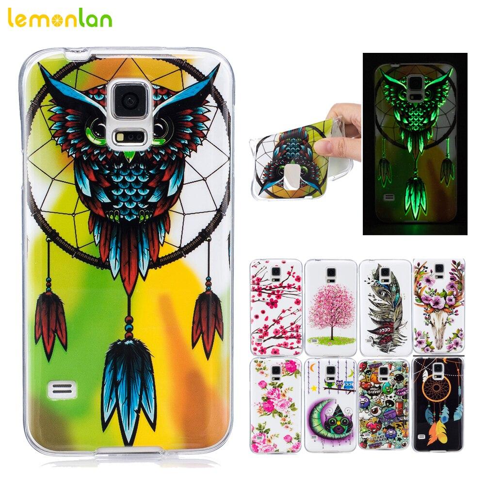 Lemonlan для samsung galaxy s5 s6 s7 s8 edge phone case мягкий Силиконовый ТПУ Задняя Крышка I9600 G920 G925 Световой Цветочным узором case
